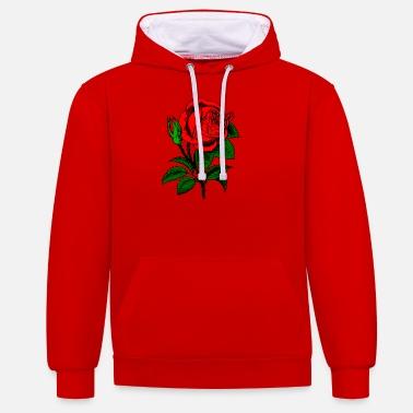 b931d05e93ec90 Róża czerwona róża - Kontrastowa bluza z kapturem unisex