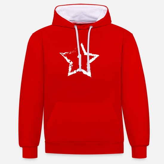 Astérisque Sweat-shirts - star - Sweat à capuche contrasté unisexe rouge/blanc