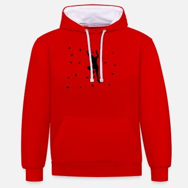 Wall Bouldering and climbing on climbing wall - Contrast Colour Hoodie