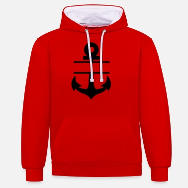 Anchor blanco round - Unisex Contrast Hoodie