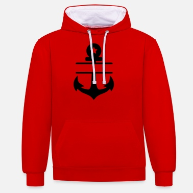 anchor blanco star - Unisex Contrast Hoodie