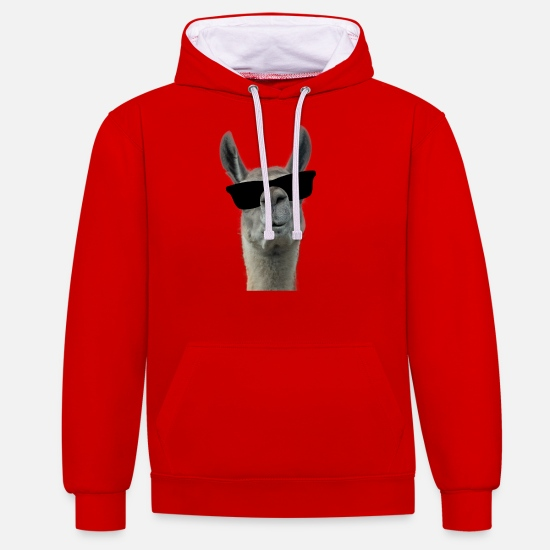Stylish Hoodies & Sweatshirts - Cool Llama with sunglasses - Unisex Contrast Hoodie red/white