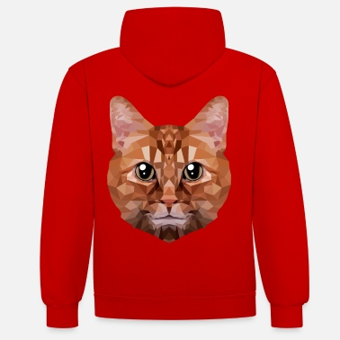 Pet Polygon cat cats cat head animals pet - Unisex Contrast Hoodie
