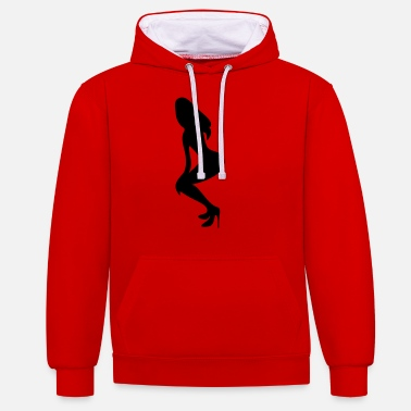 Silhouette Underwear ۞»♥Vector Sexy Wasp-waisted woman on Stilettos♥ - Unisex Contrast Hoodie