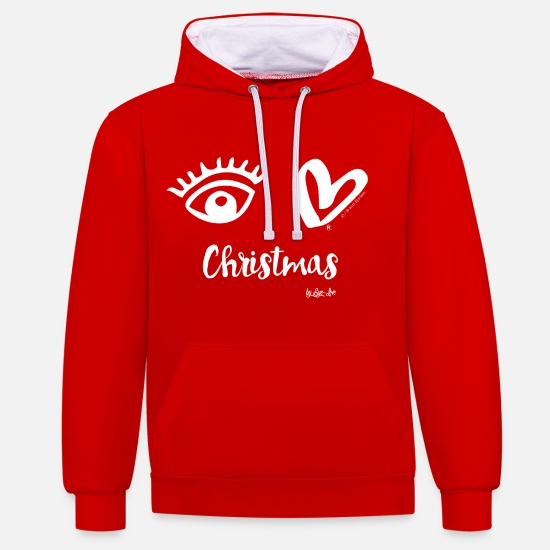 "Eye Hoodies & Sweatshirts - Eye-Love ""Christmas"" - Unisex Contrast Hoodie red/white"
