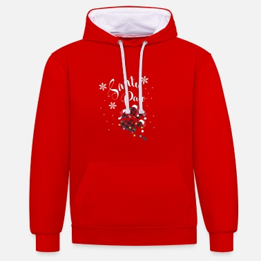 Dog with snowflakes Santa Christmas - Unisex Contrast Hoodie