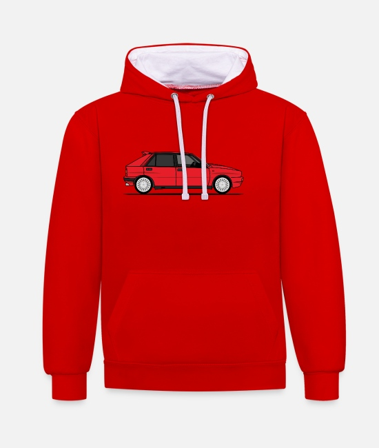 Car Hoodies & Sweatshirts - Delta Red - Unisex Contrast Hoodie red/white