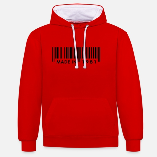 Birthday Hoodies & Sweatshirts - Birthday 1981 - Unisex Contrast Hoodie red/white