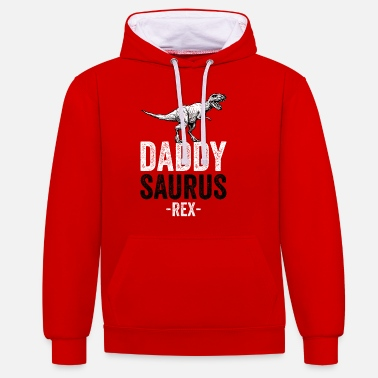 DADDYSAURUS REX - Funny Gift Dad Father - Unisex Contrast Hoodie