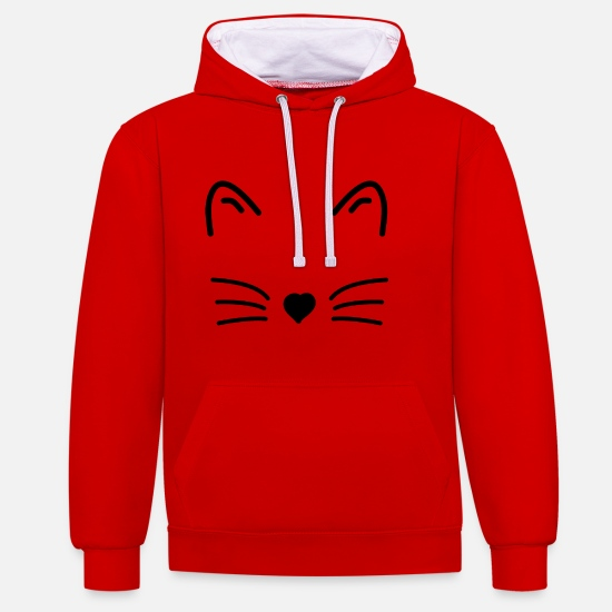 Gift Idea Hoodies & Sweatshirts - cat face - Unisex Contrast Hoodie red/white