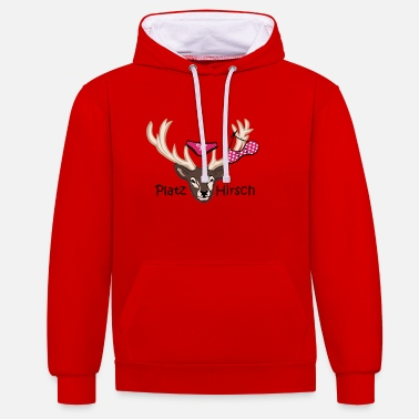 Stag Underwear Square deer gift idea macho birthday - Unisex Contrast Hoodie