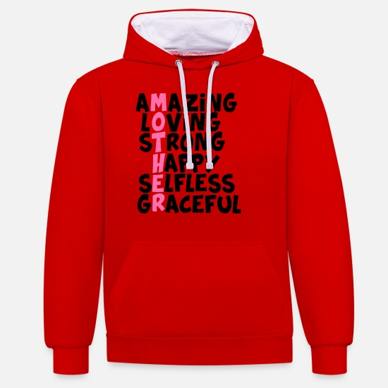 Mother's Day Hoodies & Sweatshirts - Mother - Unisex Contrast Hoodie red/white