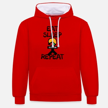 eat sleep olodum repeat - Unisex Hoodie zweifarbig
