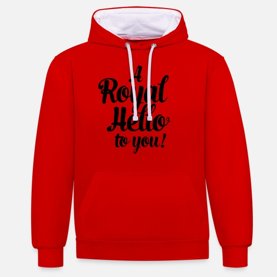 Mummy Pullover & Hoodies - a royal hello to you from the queen - Unisex Hoodie zweifarbig Rot/Weiß