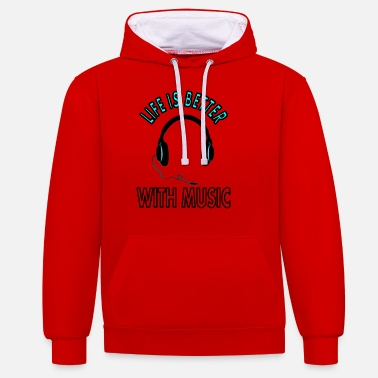 Music with headphones enjoy music saying gift - Unisex Contrast Hoodie