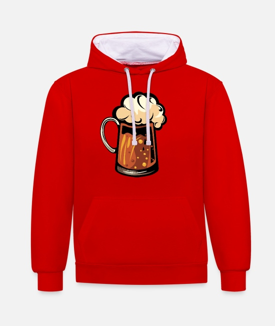 Binouze Hoodies & Sweatshirts - beer foam mug binouze alcohol glass 1 2 Z - Unisex Contrast Hoodie red/white
