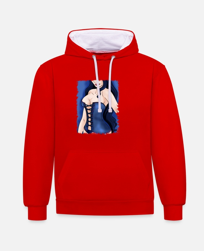 Hair Hoodies & Sweatshirts - Pretty woman corset breasts Sexy gift - Unisex Contrast Hoodie red/white