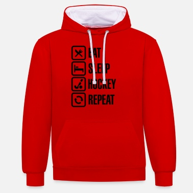 Hockey Eat Sleep Hockey Repeat - Unisex contrast hoodie