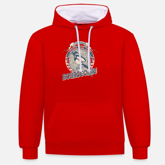 Work Hoodies & Sweatshirts - The birds work for the bourgeoisie vintage - Unisex Contrast Hoodie red/white