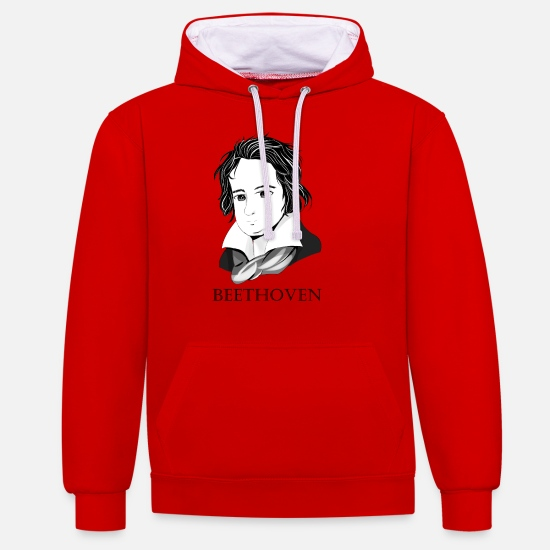 Music Hoodies & Sweatshirts - Beethoven in chibi style - Unisex Contrast Hoodie red/white