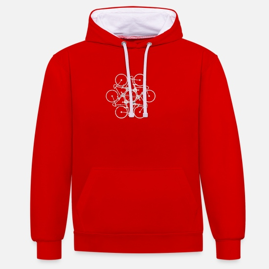 Outdoor Hoodies & Sweatshirts - Bicycle Symbol Bicycle Mountain Bike Bicycles - Unisex Contrast Hoodie red/white