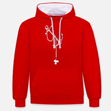 Propeller anchor with ship's prop - Unisex Contrast Hoodie