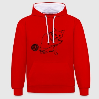 Playing cat - Contrast Colour Hoodie