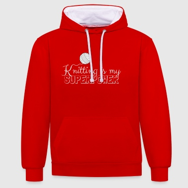 Stricken ist mein Super Power - Kontrast-Hoodie