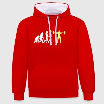 Evolution - Bodybuilder T-Shirt Gift - Contrast Colour Hoodie