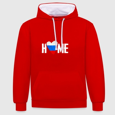 HOME RUSSIA HOME RUSSIA RUSKI MOSCOW русские - Contrast Colour Hoodie