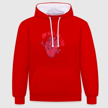A heart a love - Contrast Colour Hoodie