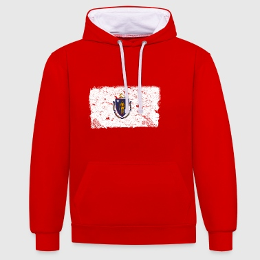 Massachusetts vintage flag - Contrast Colour Hoodie