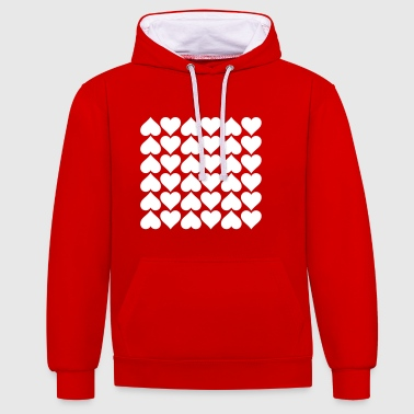 Heart pattern - Contrast Colour Hoodie