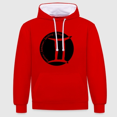 Zodiac sign Gemini (Gemini) with text - Contrast Colour Hoodie