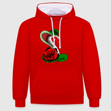 cobra et tatouage rose - Sweat-shirt contraste