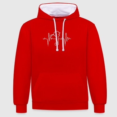 Golf 2 Hobbies Heartbeat Gift - Contrast Colour Hoodie