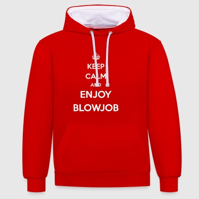 enjoy blowjob / blowjob / oral sex / gift love - Contrast Colour Hoodie