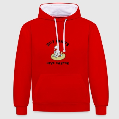 Easter Silly Wabbits Love Easter - Contrast Colour Hoodie