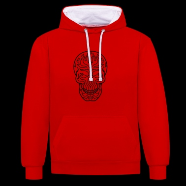 Flaming sugar skull - Contrast Colour Hoodie