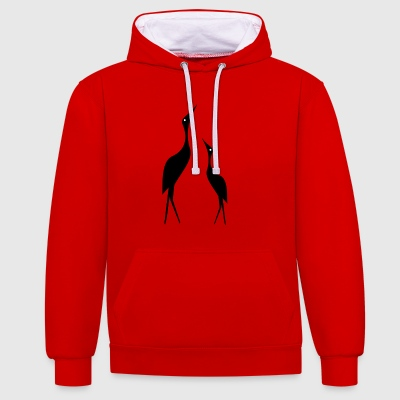 Stylized cranes - Contrast Colour Hoodie