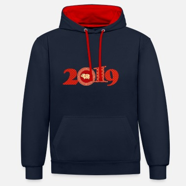 Chinese 2019 Chinese New Year - Contrast Colour Hoodie