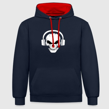 Sound Skull dj headphone audio music electro trap - Felpa con cappuccio bicromatica