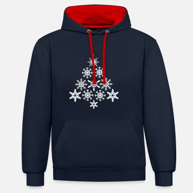 Snowflake - Christmas tree  - Contrast Colour Hoodie