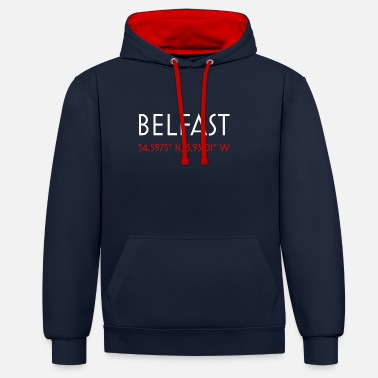 Belfast Belfast UK minimalist coordinates simple t shirt - Contrast Colour Hoodie