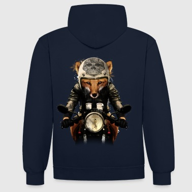 Fox Biker  - Renard motard - Sweat-shirt contraste