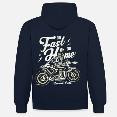Bikes And Cars Collection Go Fast Or Go Home - Bluza z kapturem z kontrastowymi elementami