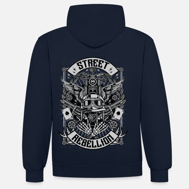 And Sweatshirts - Street Rebellion - Unisex kontrast hættetrøje marineblå/rød
