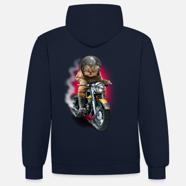 Bikes And Cars Collection CAT RIDER - Sudadera con capucha en contraste