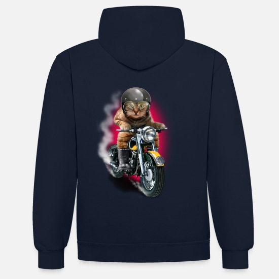 Adam Hoodies & Sweatshirts - CAT RIDER - Unisex Contrast Hoodie navy/red