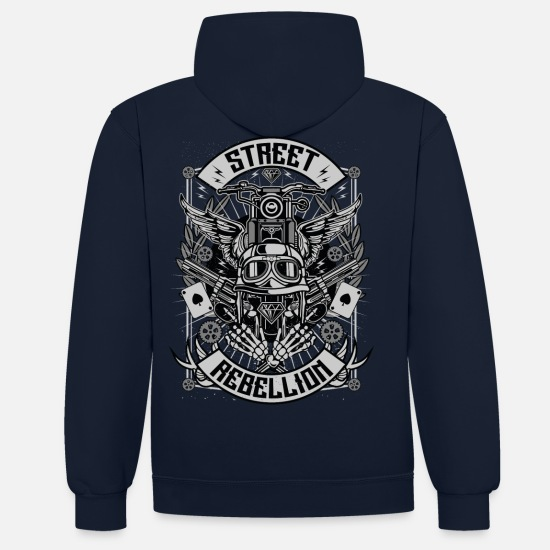 Bikes And Cars Collection V2 Sweaters & hoodies - Street Rebellion - Unisex contrast hoodie navy/rood
